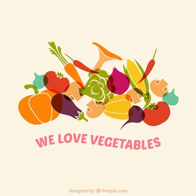 Nous aimons les légumes Vecteur Premium