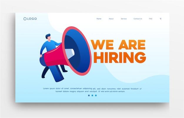 Nous Embauchons Une Bannière De Modèle De Site Web De Page De Destination Vecteur Premium