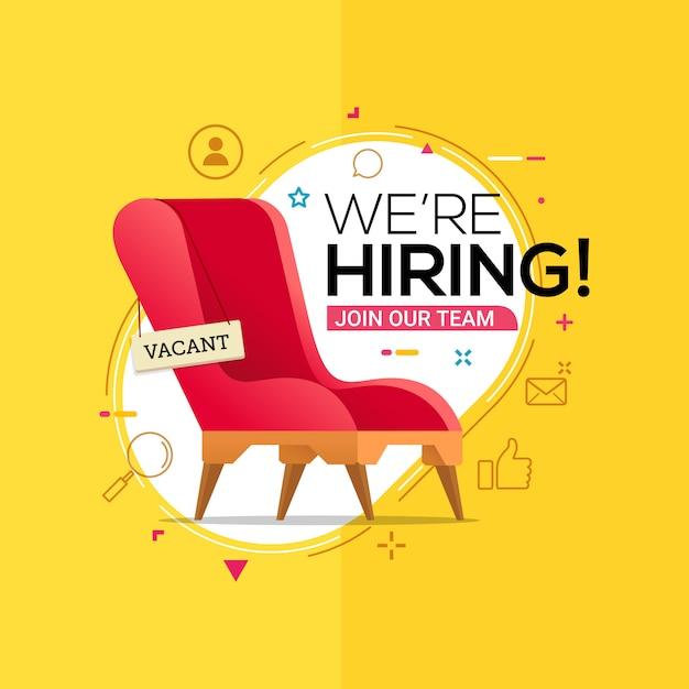 Nous embauchons avec une chaise de bureau et un écriteau vacant Vecteur Premium