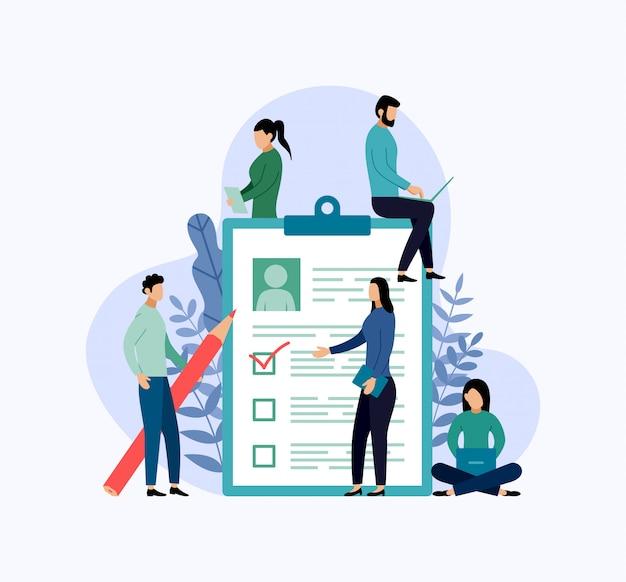 Nous embauchons, liste de contrôle, questionnaire, illustration vectorielle de business concept Vecteur Premium
