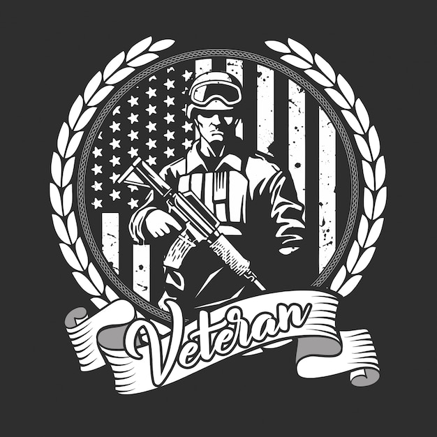 Nous soldat vétéran Vecteur Premium
