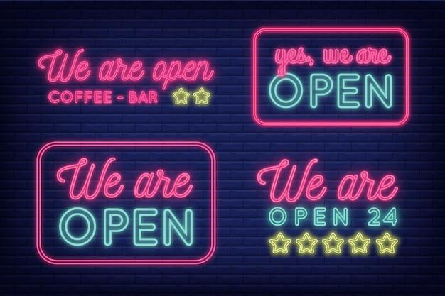 Nous Sommes Concept D'enseigne Au Néon Ouvert Vecteur gratuit