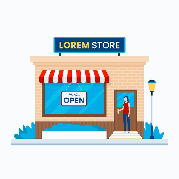 Nous Sommes Un Magasin Local Ouvert Et Un Client Vecteur gratuit
