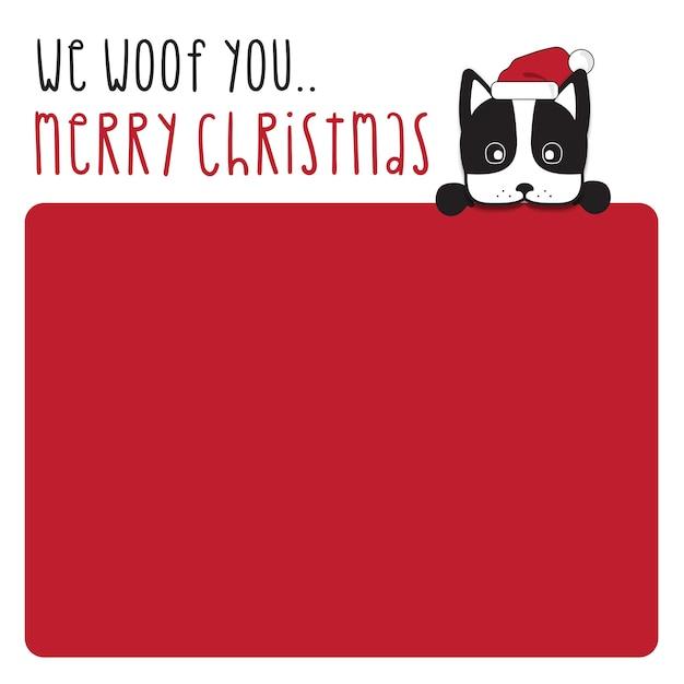 Nous Vous Souhaitons Joyeux Noël Et Bonne Année - Conception De Carte De Lettrage Dessiné à La Main De Chien De Terrier De Boston Ou Fond D'affiche. Vecteur Premium