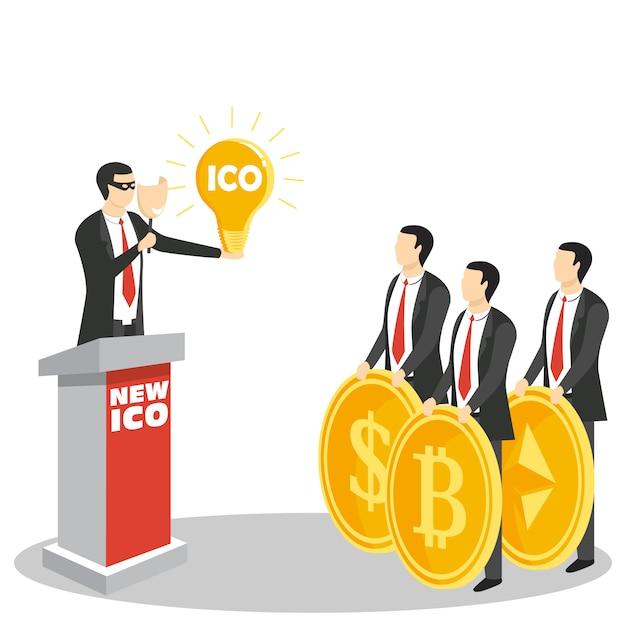Nouveau Concept Ico Ou Offre Initiale De Pièces De Monnaie Vecteur Premium