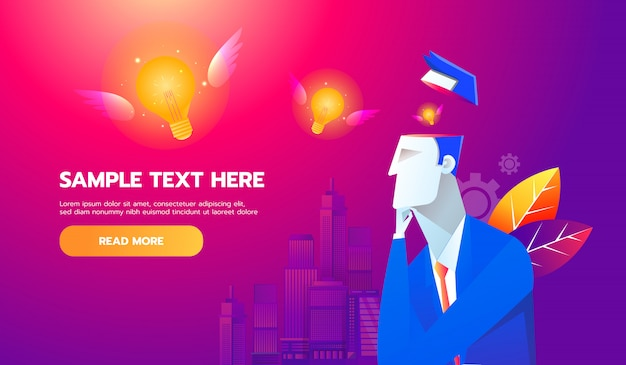 Nouveau concept d'idée. ampoule volante du cerveau de l'homme d'affaires Vecteur Premium
