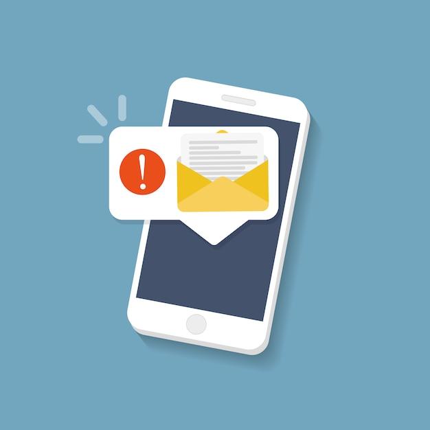 Nouveau Message Sur L'écran Du Smartphone. Illustration Vectorielle. Vecteur Premium