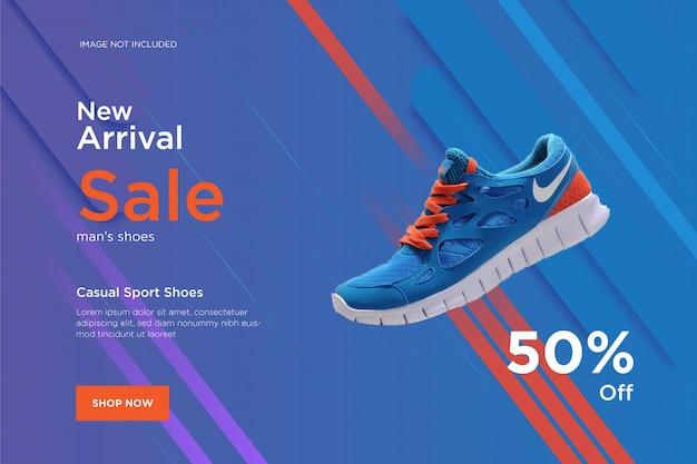 Nouveau modèle de bannière de conception de chaussures arrivée Vecteur Premium