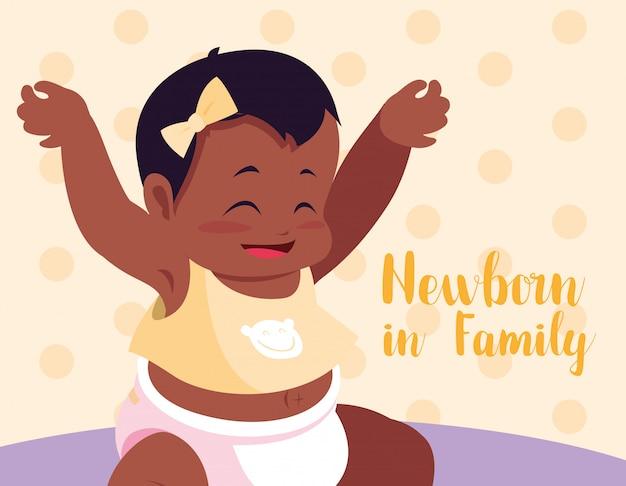 Nouveau-né en carte de famille avec bébé afro Vecteur Premium