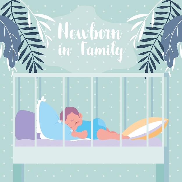 Nouveau-né en famille avec bébé dormir en crèche Vecteur Premium