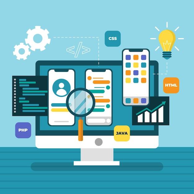 Nouveaux éléments De Développement D'applications Vecteur gratuit