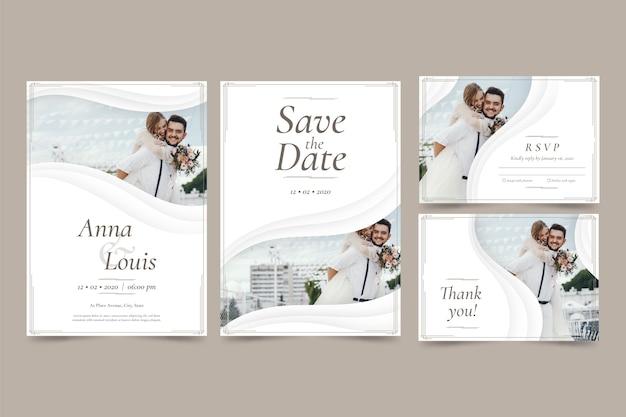 Les nouveaux mariés sauvent l'invitation de mariage de date Vecteur gratuit