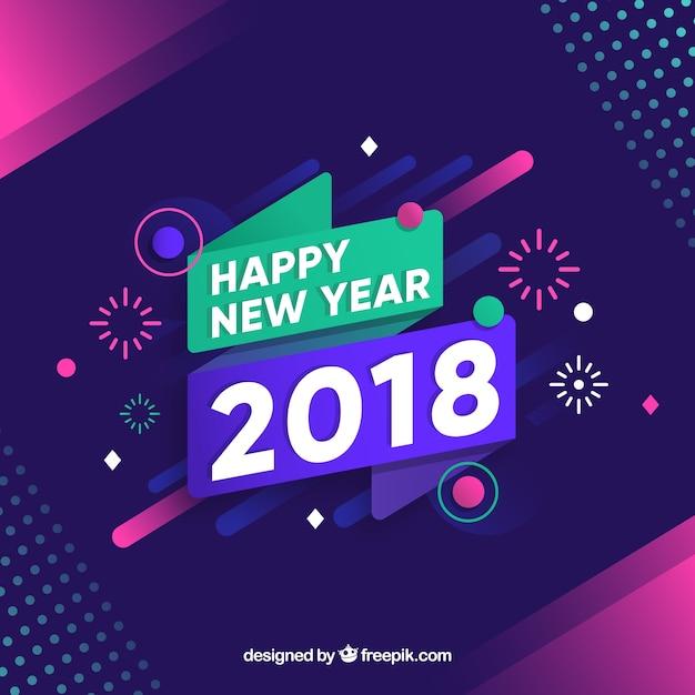 Nouvel an 2018 fond avec feux d'artifice Vecteur gratuit