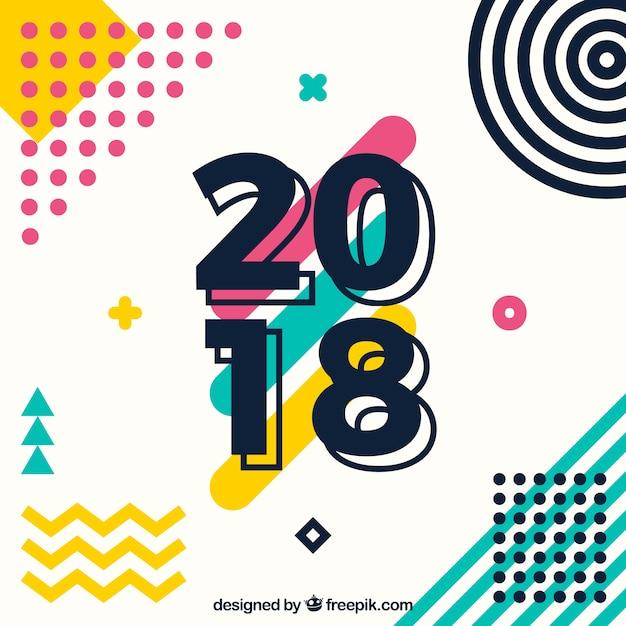 Nouvel an 2018 fond Vecteur gratuit