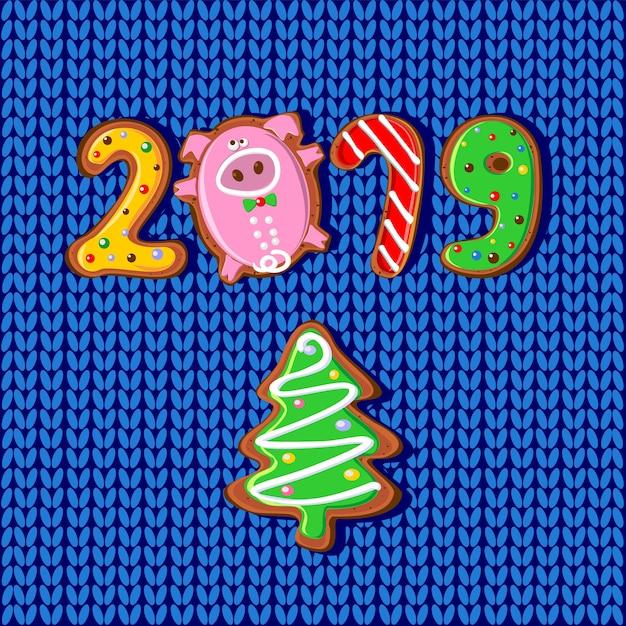 Nouvel an. 2019 année du cochon. Vecteur Premium