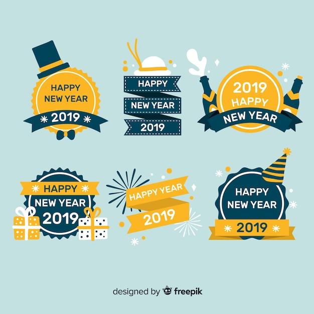Nouvel An 2019 Collection D'étiquettes Et De Badges Vecteur gratuit