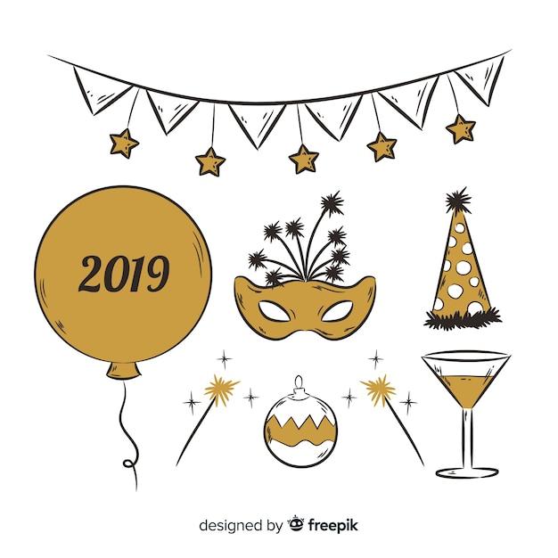 Nouvel an 2019 ensemble d'éléments du parti Vecteur gratuit