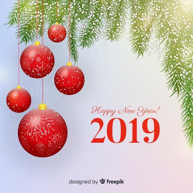 Nouvel an 2019 fond Vecteur gratuit