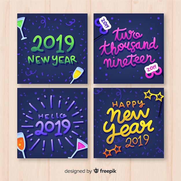 Nouvel an 2019 jeu de cartes Vecteur gratuit