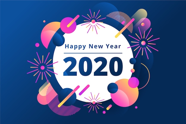 Nouvel an 2020 fond au design plat Vecteur gratuit