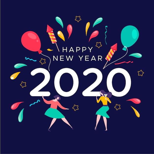 Nouvel An 2020 Fond Au Design Plat | Vecteur Gratuite