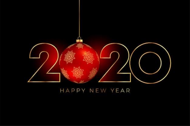 Nouvel an 2020 fond avec boule de noël rouge Vecteur gratuit