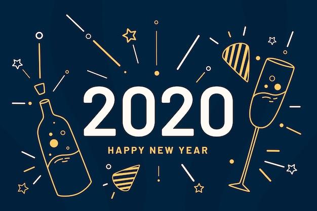 Nouvel an 2020 fond dans le style de contour Vecteur gratuit