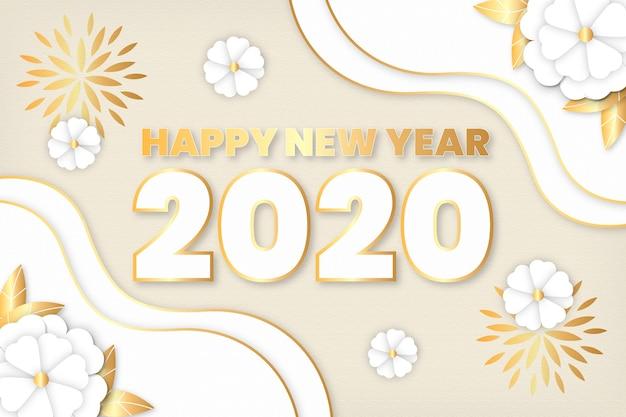 Nouvel an 2020 fond dans le style de papier Vecteur gratuit