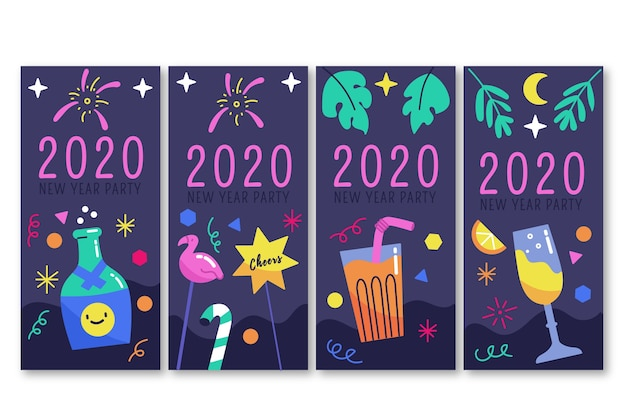 Nouvel An 2020 Partie Instagram Histoire Set Vecteur gratuit