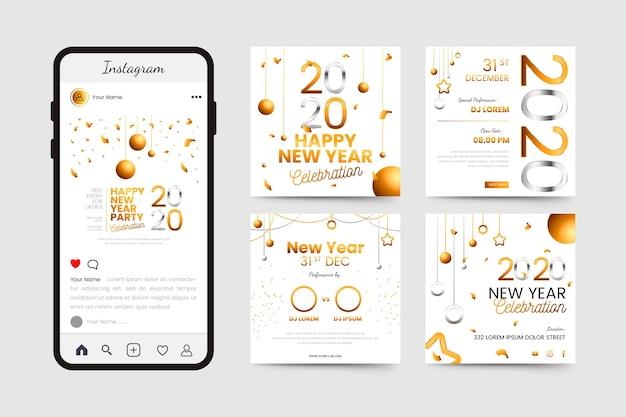 Nouvel An 2020 Partie Instagram Post Collection Vecteur gratuit