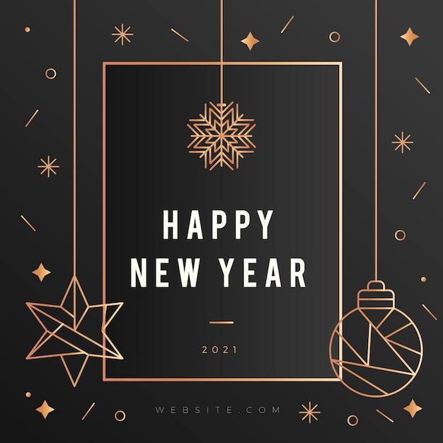 Nouvel An 2021 Avec Fond De Décoration Doré Réaliste Vecteur gratuit