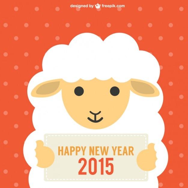 Nouvel an chinois avec des moutons Vecteur gratuit