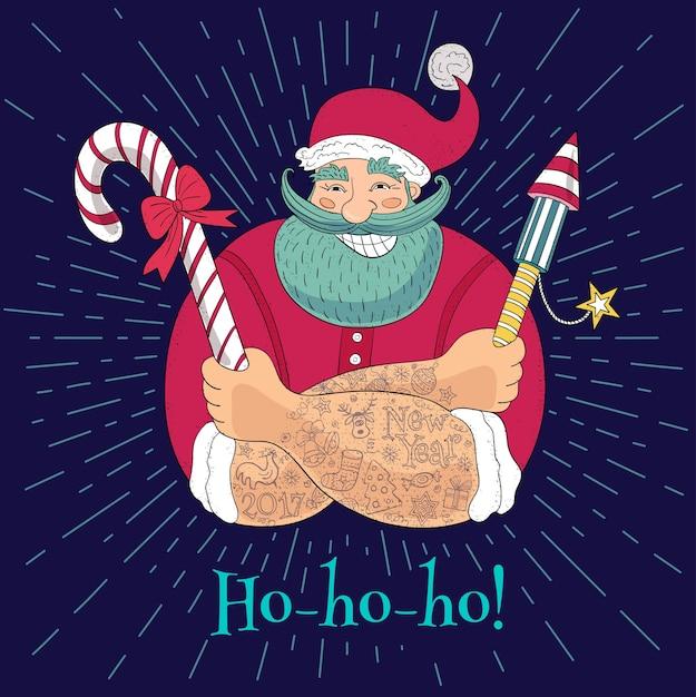 Nouvel An Dans Le Style De Croquis. Hipster Tatoué Le Père Noël. Dessin Animé Drôle, Personnage, Bonbons, Pétard, Feux D'artifice. Illustration Dessinée à La Main. Vecteur Premium