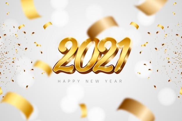 Nouvel An Doré 2021 Vecteur Premium