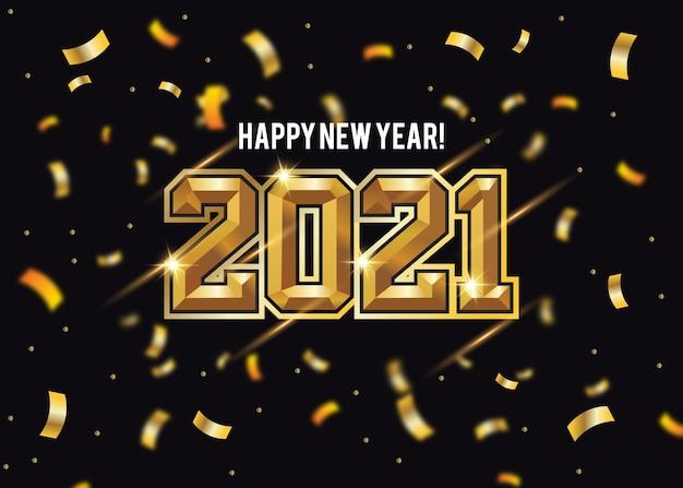Nouvel An Doré 2021 Vecteur gratuit