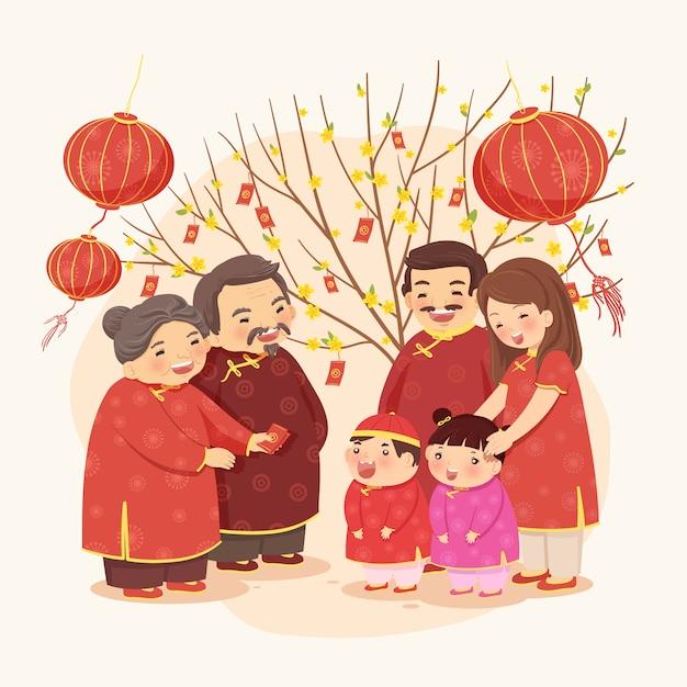 Nouvel an lunaire d'une famille traditionnelle Vecteur Premium