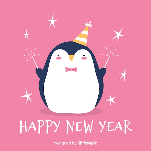 Nouvel an à la main dessiné fond de pingouin Vecteur gratuit