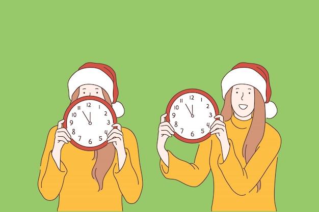 Nouvel an, noël, temps, concept de réveillon Vecteur Premium