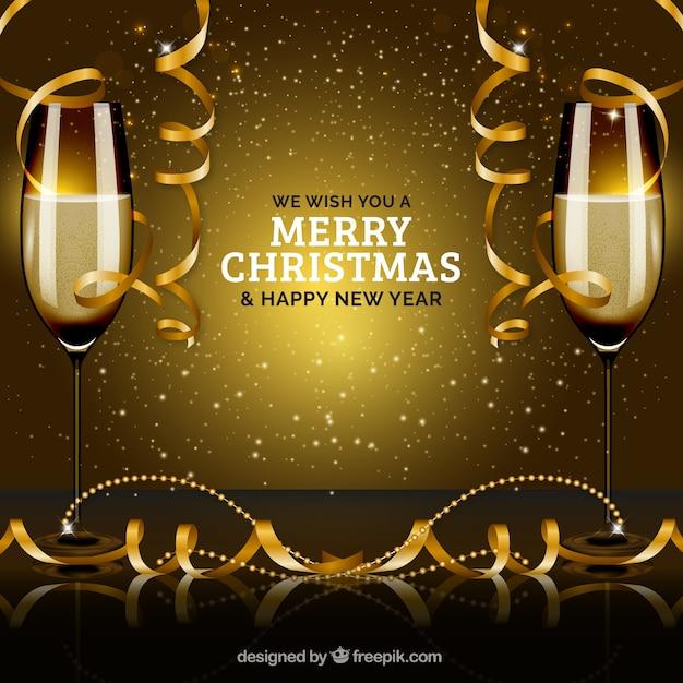 Nouvel An Partie De La Veille Avec Des Verres De Champagne Vecteur gratuit