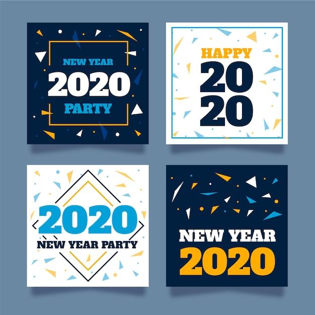 Nouvel an party instagram collection post Vecteur gratuit
