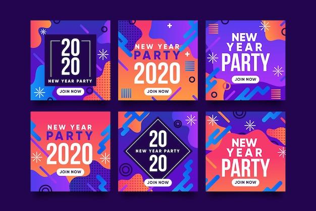 Nouvel an party instagram post set Vecteur gratuit