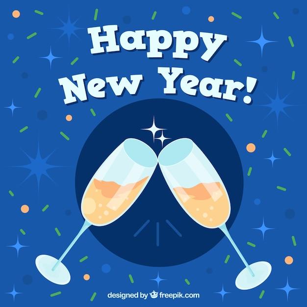 Nouvel An Avec Un Toast Vecteur gratuit