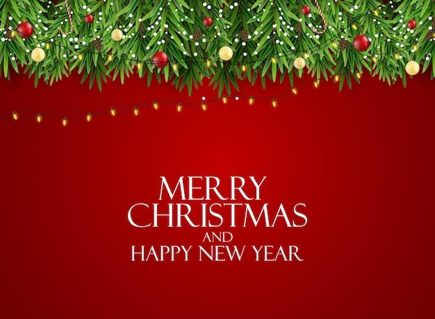 Nouvel An De Vacances Et Fond De Joyeux Noël Avec Arbre De Noël Réaliste. Illustration Vecteur Premium