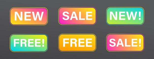 Nouvelle Arrivée Boutique étiquettes De Produits Pour La Promotion De La Vente Vecteur Premium