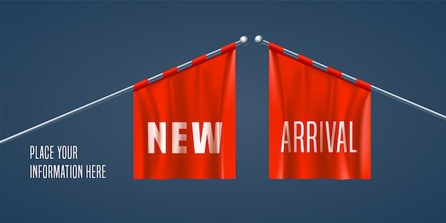 Nouvelle Bannière D'arrivée, Arrière-plan Vecteur Premium