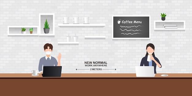 Nouvelle Illustration Normale, Les Gens Maintiennent La Distance Sociale Dans Les Restaurants, Cafés Et Espaces De Travail Vecteur Premium