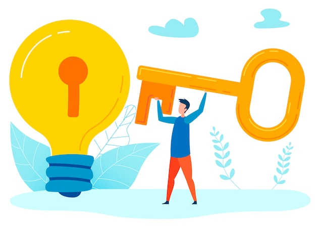 Nouvelle invention metaphor flat illustration Vecteur Premium