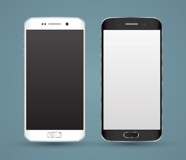 Nouvelle maquette réaliste de smartphones Vecteur Premium