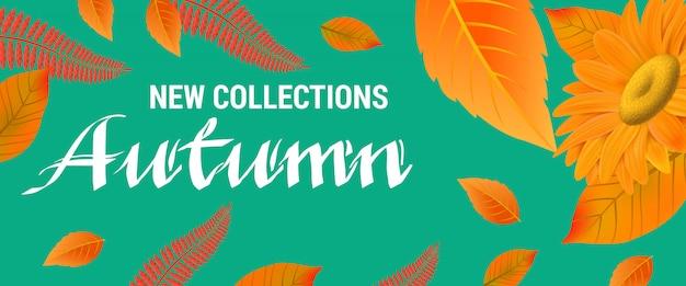 Nouvelles collections lettrage d'automne avec des feuilles orange. Vecteur gratuit