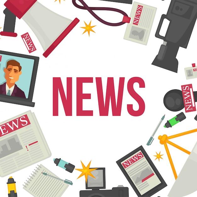Nouvelles et éléments de presse. journal, caméra professionnelle Vecteur Premium